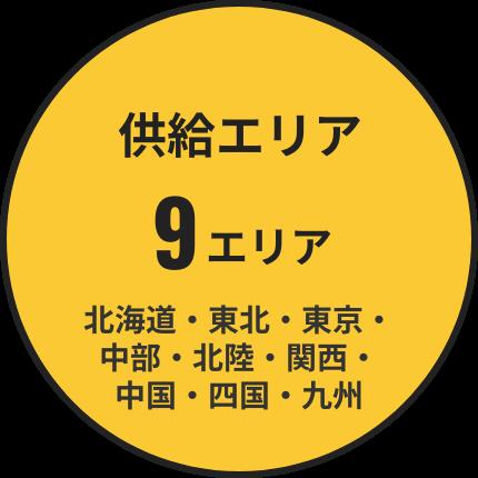 供給エリア 9エリア 北海道・東北・東京・中部・北陸・関西・中国・四国・九州