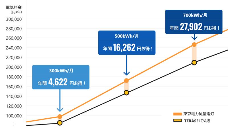 東京電力エリアの4〜5人世帯の場合
